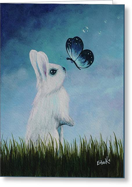 White Rabbit With Butterfly Paintings Greeting Card