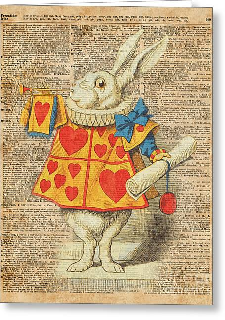 White Rabbit With Trumpet Alice In Wonderland Vintage Dictionary Artwork Greeting Card by Jacob Kuch