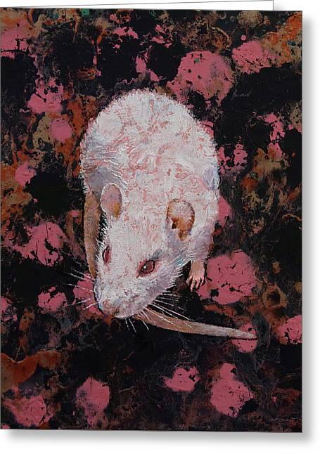 White Rat Greeting Card by Michael Creese