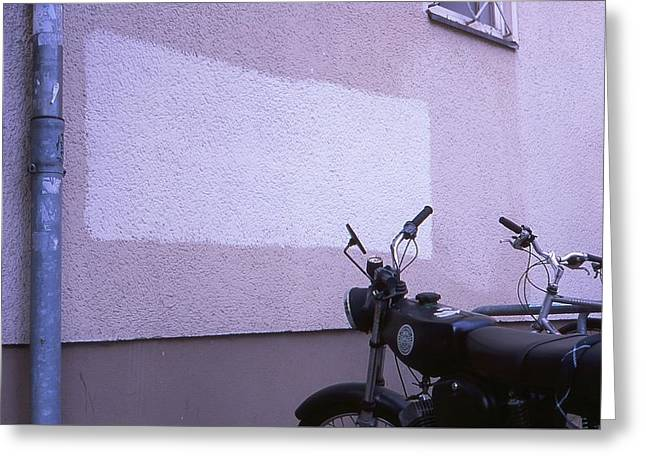 White Rectangle And Vintage Bikes Greeting Card