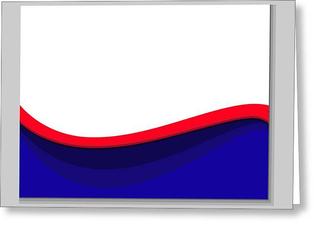 White Red Blue Wave Greeting Card