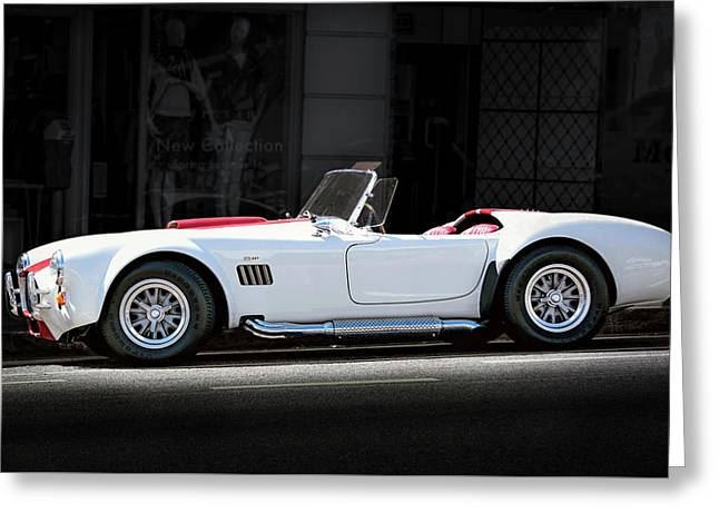 White-red Ford Cobra Greeting Card by Gene Parks