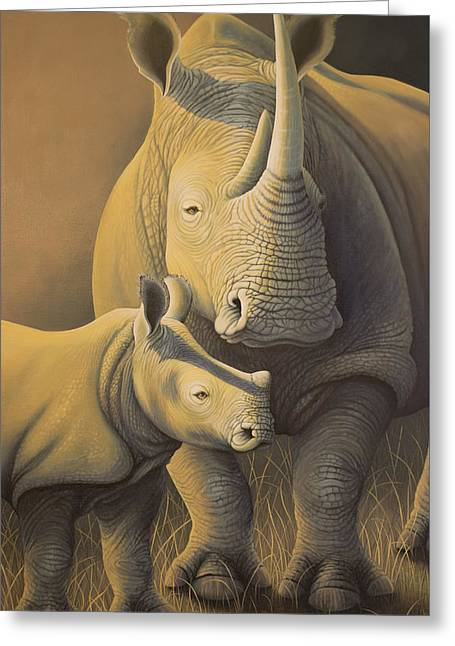 White Rhino Fading Into Extinction Greeting Card