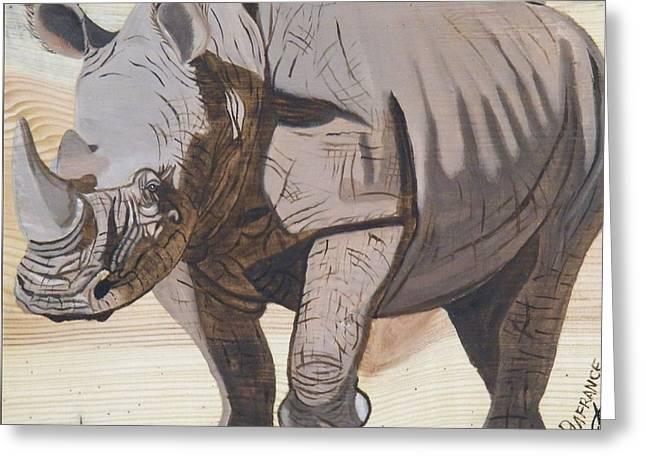 White Rhino On Rustic Wood Greeting Card by Debbie LaFrance