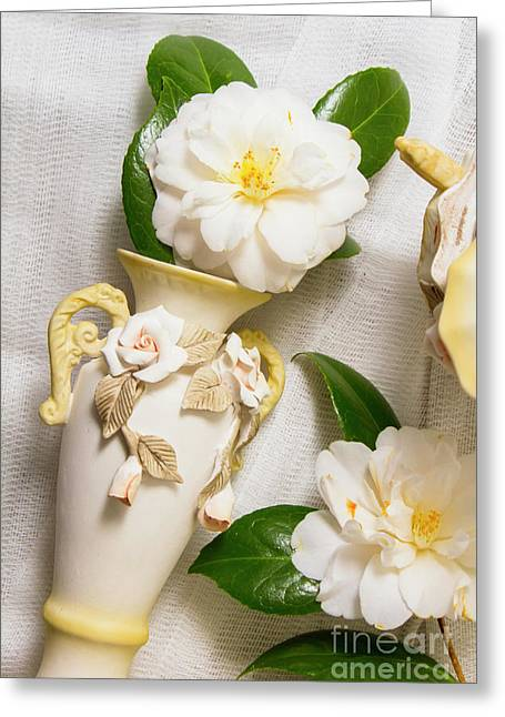 White Rhododendron Funeral Flowers Greeting Card
