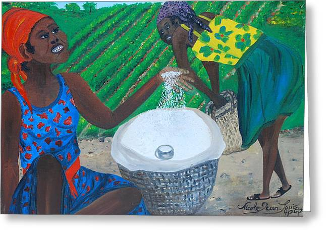 Greeting Card featuring the painting White Rice Merchant by Nicole Jean-Louis