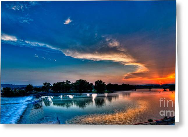 White River Sunset Greeting Card by Clayton Cavaness