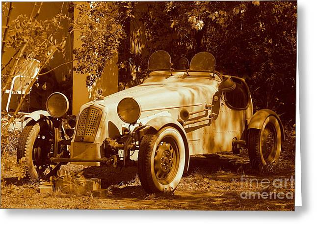 White Roadster Vintage Automobile  In Temecula California Greeting Card