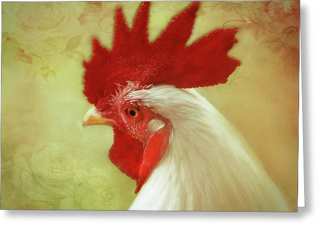 White Rooster Greeting Card by KaFra Art