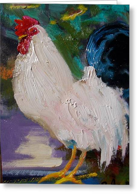 White Rooster Greeting Card by Susan Jenkins