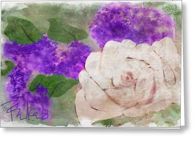 White Rose And Lilacs Greeting Card by Diana Riukas