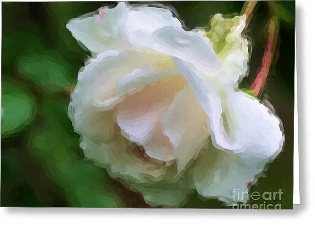 White Rose In Paint Greeting Card