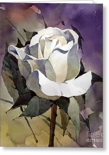 White Rose Greeting Card by Natalia Eremeyeva Duarte