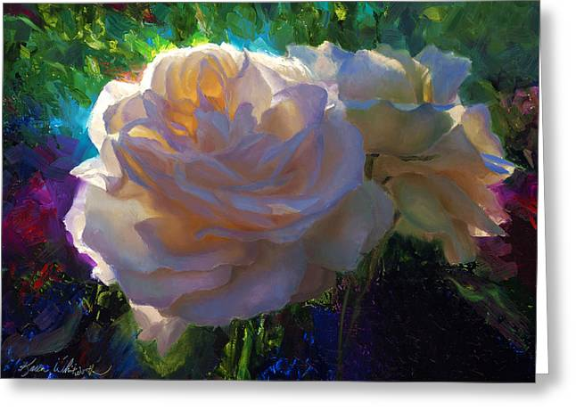 White Roses In The Garden - Backlit Flowers - Summer Rose Greeting Card