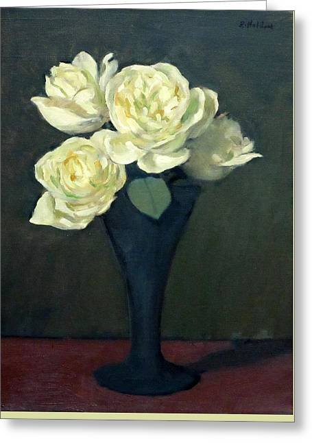 Four Off-white Roses In Trumpet Vase Greeting Card
