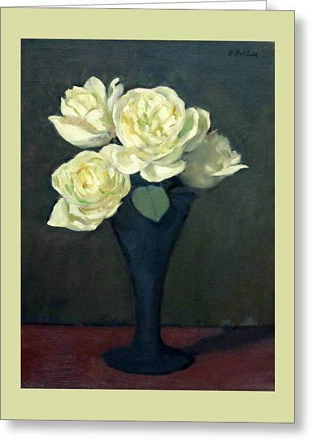 Four White Roses In Trumpet Vase Greeting Card