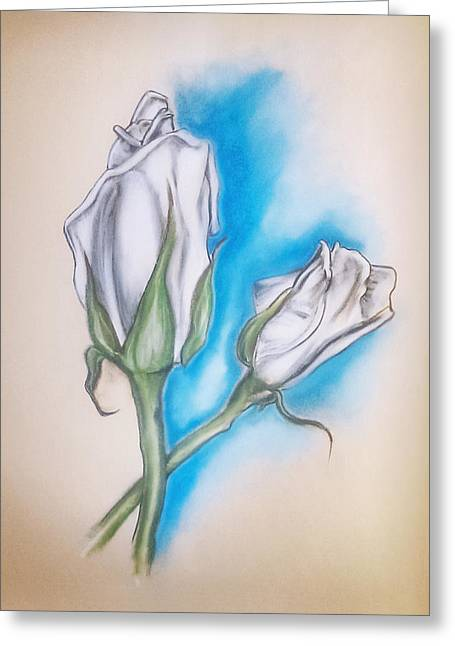 Greeting Card featuring the pastel White Roses by Keith A Link
