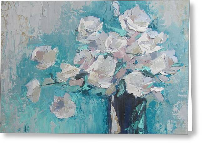 White Roses Palette Knife Acrylic Painting Greeting Card
