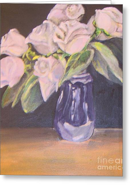 Greeting Card featuring the painting White Roses by Saundra Johnson