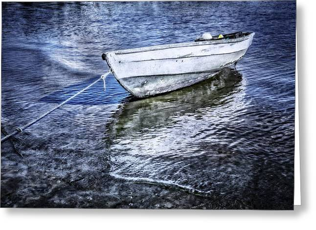 White Rowboat Greeting Card by Debra and Dave Vanderlaan
