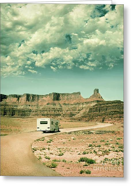 Greeting Card featuring the photograph White Rv In Utah by Jill Battaglia