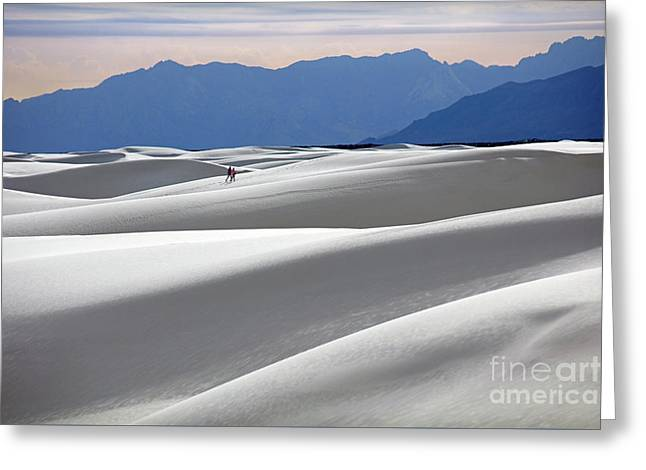 White Sands Hikers Greeting Card by Martin Konopacki