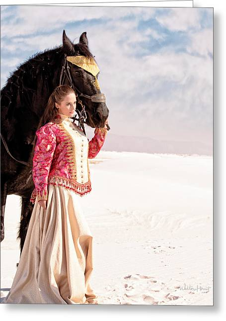 White Sands Horse And Rider #2a Greeting Card