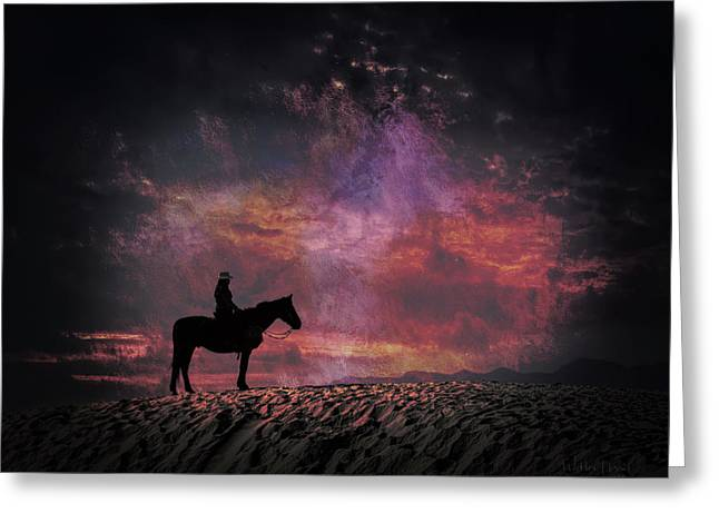 White Sands Horse And Rider #4c Greeting Card