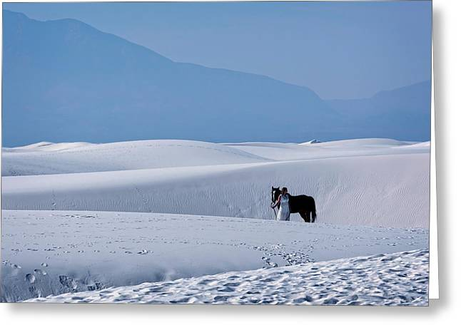 White Sands Horse And Rider #5b Greeting Card