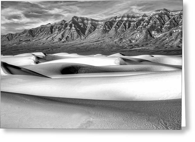 White Sands Morning - 2 - New Mexico - Black And White Greeting Card by Nikolyn McDonald