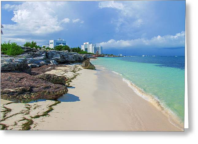 White Sandy Beach Of Cancun Greeting Card