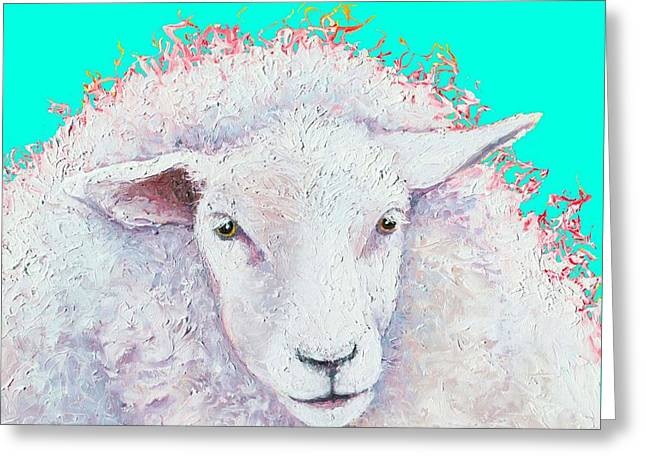 White Sheep On Turquoise Background Greeting Card