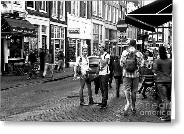 White Shirts In Amsterdam Mono Greeting Card by John Rizzuto