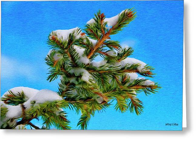 White Snow On Evergreen Greeting Card by Jeff Kolker