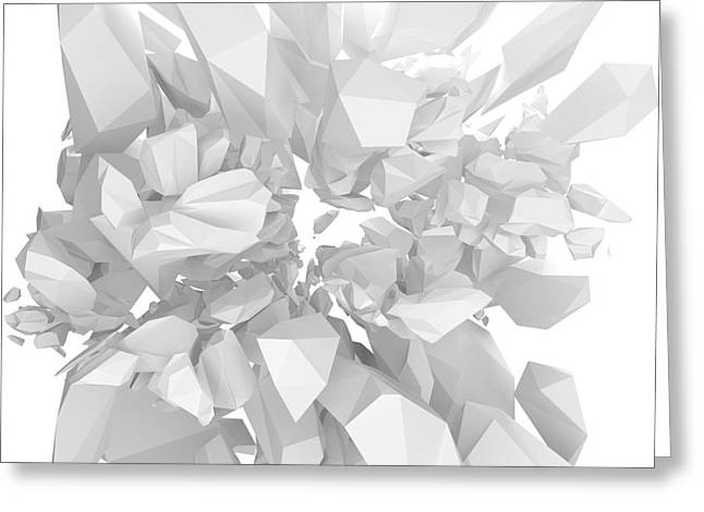 White Solid Structure Bursting 3d Render Greeting Card by Marco Neubauer
