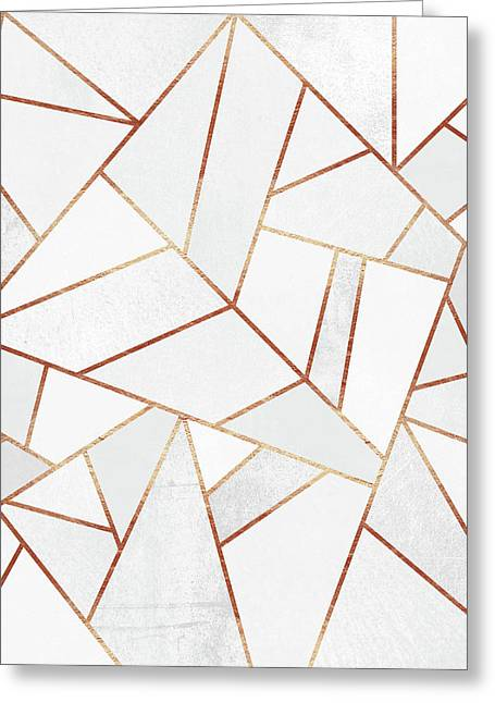 White Stone And Copper Lines Greeting Card by Elisabeth Fredriksson