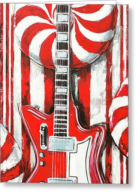 Greeting Card featuring the painting White Stripes Guitar by John Gibbs
