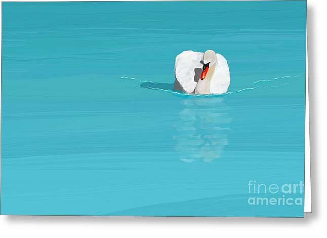 White Swan Blue Lake Greeting Card