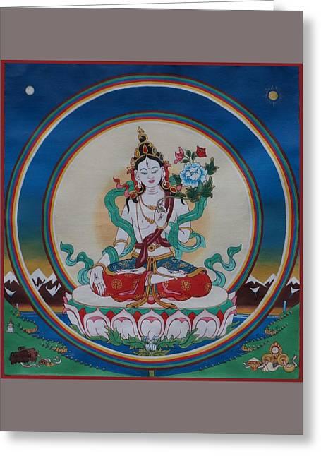 White Tara, Double Rainbow Greeting Card