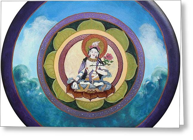 White Tara Mandala Greeting Card by Jo Thompson