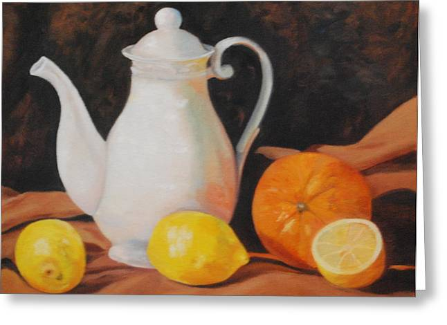 White Teapot Greeting Card by Jean Peace