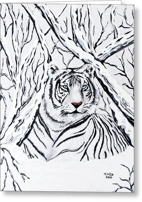 White Tiger Blending In Greeting Card