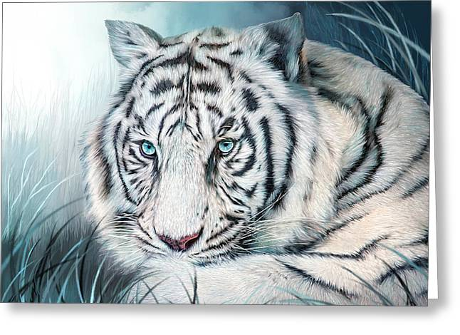Greeting Card featuring the mixed media White Tiger - Spirit Of Sensuality by Carol Cavalaris