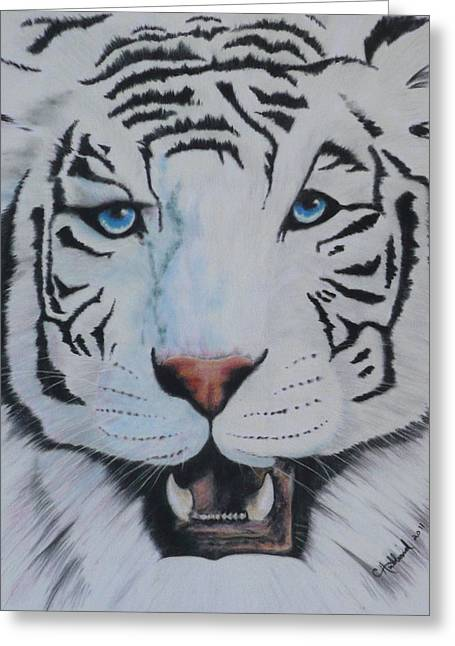 White Tiger Greeting Card by Charles Hubbard