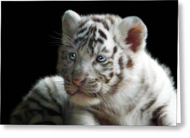 White Tiger Cub Greeting Card by Julie L Hoddinott