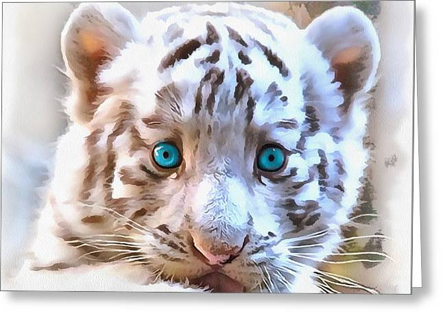 White Tiger Cub Greeting Card by Sergey Lukashin