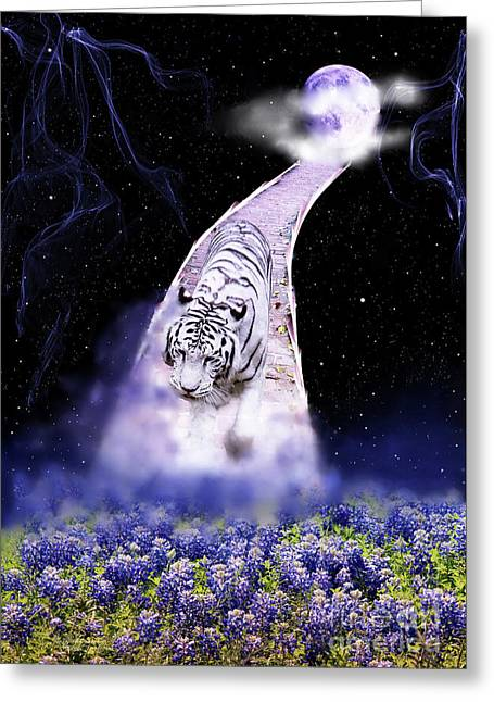 White Tiger Fantasy Greeting Card