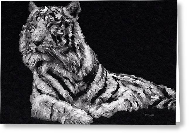 Greeting Card featuring the painting White Tiger by Mark Taylor