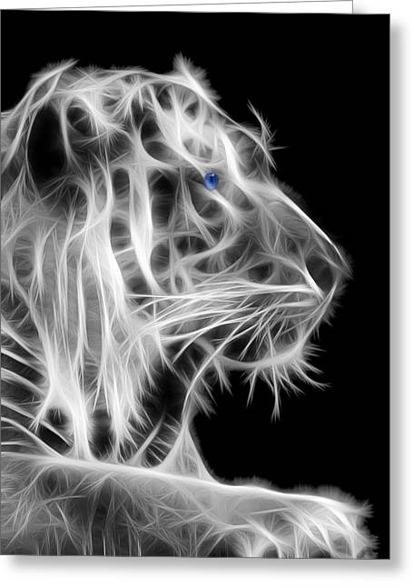 White Tiger Greeting Card by Shane Bechler