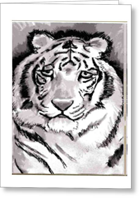 White Tiger Greeting Card by Terry Groehler
